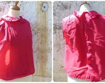 Vintage 1960 mod blouse / 60s  blouse /red /  size M