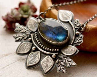 Silver Botanical Necklace, Labradorite Pendant, Gardeners Gift, Modern Rustic Necklace, Modern Artisan Jewelry, Art Necklace