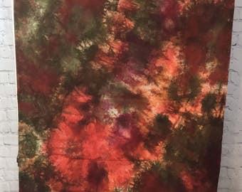 Hand Dyed Fabric - Orange Olive - 1 yard -  Modern Shibori Cotton - 353