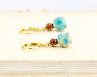 Turquoise Earrings - Turquoise Crystal Earrings - Bridal jewelry - Bridesmaid Gift - Vintage Style - Drop Prom Earrings