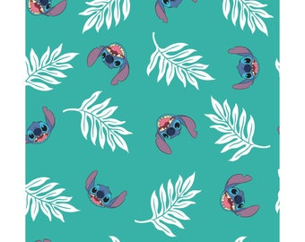 NEW Disney Fabric- Lilo and Stitch collection- Palm Leaves in Turquoise, Camelot, yard