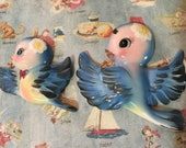 FREE SHIPPING RARE Vintage Antique Bluebirds and Daisies In Flight Family Wall Art Hanging Plaques Sculptures Collectible Wall Decor Set