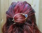 Druzy Bun Pin Brass Hair Fork - top knot - bun pin - hair slide - hair pin - handmade brass hair accessory