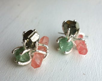Springtime Cluster Studs- Sterling Silver with Pyrite, Emeralds, and Pink Quartz Statement Studs