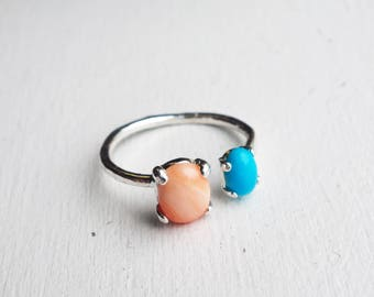 Sterling Dual Ring with Coral and Turquoise