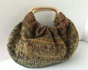 Small Boho Hobo Purse - Handmade Handbag Tiny Ombre Upholstery with Rattan Handles