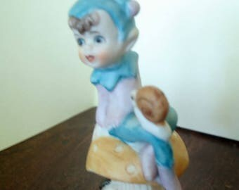 Vintage - Home Decor -  Collectibles - Figurine - Little Pixie & Snail - Sitting on Mushroom