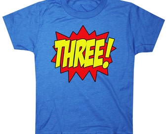 Kids SUPERHERO Third Birthday T-shirt
