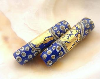Golden Lapis Blue Tube Bead Pair Handmade Lampwork