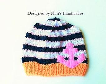 Girls Nautical Anchor Beanie Hat, nautical girls apparel, girls anchor apparel, handmade, wholesale girls apparel, winter hats, fall hats