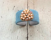 Blue Ultrasuede Cuff with Pearls and Beaded Center