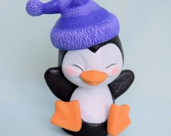 Ceramic Penguin - Cute Penguin with stocking hat - Winter Decor - Giddy Penguin - Penguin gift - Penguin Decor - Penguin Decorations