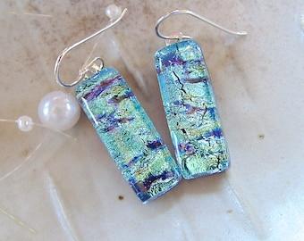 Blue Earrings, Aqua, Dichroic Glass Earrings, Dangle, Sterling Silver Earrings, A1