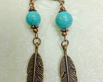 Stone Beads Antiqe Copper Beads, Accents and Feather Charms Dangle Earrings