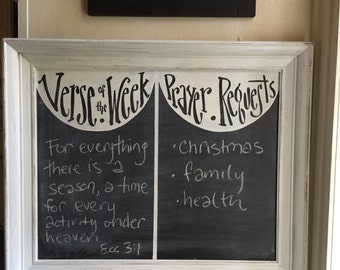 Verse of the week and Prayers Chalkboard - verse of week - scripture board - sunday school - homeschool