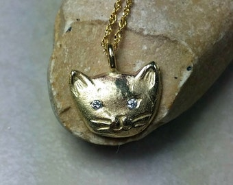Solid 14 kt yellow gold and diamond cat necklace, gold and Diamond kitty  pendant, birthstone necklace