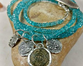 Ancient Greek  Coin charm Bracelet, Apatite strand wrap Bracelet, interchangeable necklace and Bracelet, ancient coin jewelry