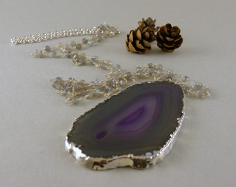 Long Purple and Gray Agate Geode Slice Stone Necklace in Silver and Labradorite Stone Chain