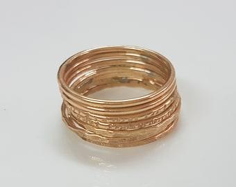 Set Of 7 Rings, Ultra Thin Stacking Ring Set, Skinny Ring Set, Gold filled Rings,