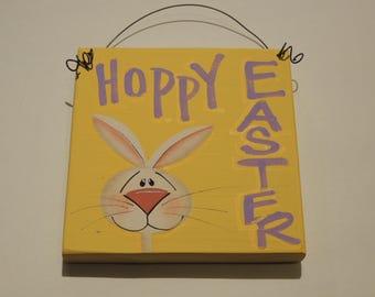 Handpainted Hoppy Easter Bunny Sign