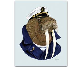 Walrus art print - Animal art - Nursery art - Nursery decor - Animals in Clothes - Children's art - Ryan Berkley Illustration 5x7