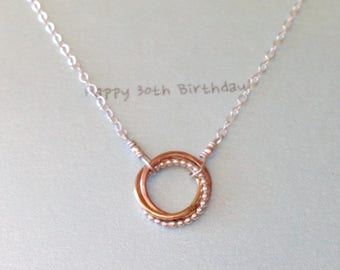 30th Birthday Gift Tricolor Entwined Circle Necklace Three Rings Necklace - made to order