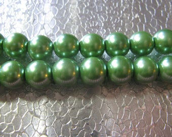 75 Green Metalic Glass Pearl Bead 10mm Green Color Beads