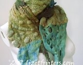 20% OFF -  Textured Felt Scarf Green Blue Turquoise  -  Winter Scarf Eco Fashion