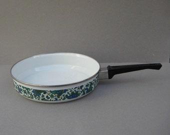 Blue Paisley 10 Inch Frying Pan Porcelain Enamel Gourmet Cookware El Coronado Nasco Spain Vintage Kitchenware