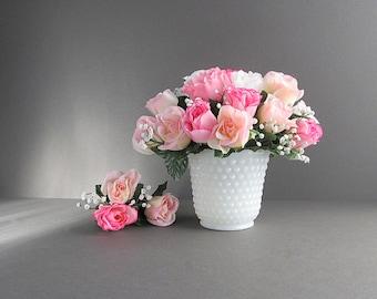 Vintage Milk Glass Hobnail Planter, Hobnail Vase, Milk Glass Flower Pot, Wedding Vase, Wedding Planter, Fire King