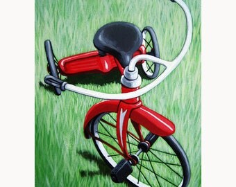 Little Red TRICYCLE archival art print from original painting