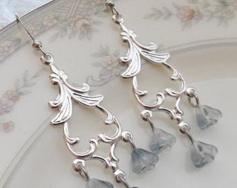 50% Off, Tiny Flowers Earrings, Czech Glass
