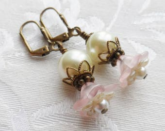 75% Off Clearance Sale, Double Blossom Flower Earrings made with Vintage Bead , Pink, Cream, Pearl, Antique Brass
