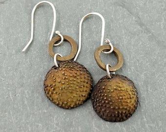 Handcrafted dangly bronze earrings