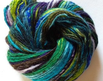 Handspun singles yarn 3ozs 360 yards  sport/sock weight merino silk
