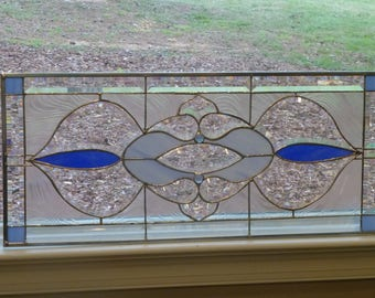 Two Tones of Blues! Big and Beautiful!! Stained glass and Beveled Transom !