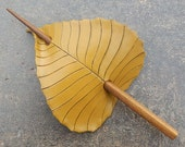 Autumn Birch Leaf Hair Stick or Hair Slide in Golden Yellow and Brown - Leather Shawl Clasp or Hair Accessory in Mustard Gold