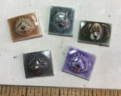 Cute Happy Dogs Mosaic Ceramic Tile Porcelain Set of 5