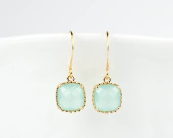 Mint Gold Earrings, Mint Green Gold Square Earrings, Green Gold Earrings, Bridesmaid Earrings, Bridesmaid Gift, Wedding Jewelry