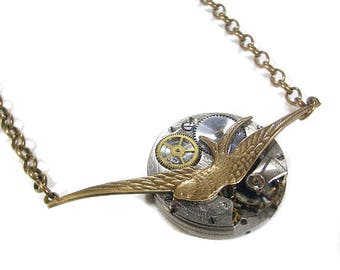 Steampunk Jewelry Necklace Vintage Pocket Watch Victorian Bird, Women Fiancee Jewelry, Birthday Anniversary GORGEOUS - Jewelry by edmdesigns