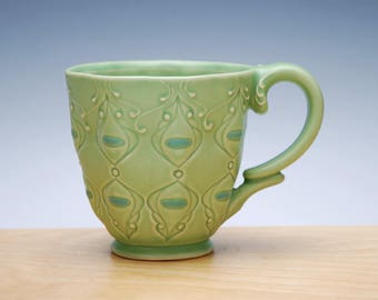Spring green mug w. Sky blue detail, Victorian mod stamped handmade cup