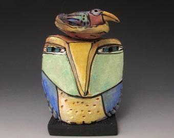 "Owl art, handmade one of a kind ceramic owl art,""Owl Person and Rainbow Bird.  Love is All, 5-1/4"" tall"