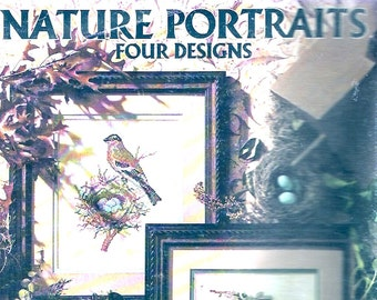 Birds Nature portraits Leisure Arts booklet 2075 How to collection Collection with 4 designs Charted cross stitch 1990s vintage guide