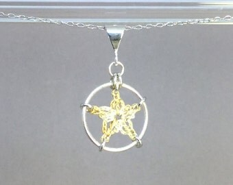 Stars, French vanilla silk necklace, sterling silver
