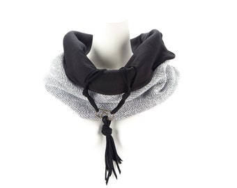 White and Black Macrame Inspired Cowl Scarf Tube