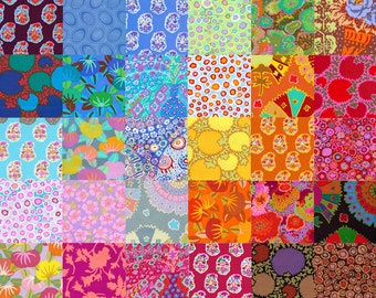38 Different Kaffe Fassett Fabric Charm Square Pack - Prewashed, Rotary cut