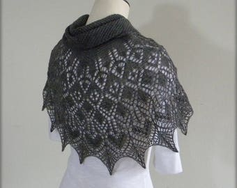 Shayna Love Strawberry Lace - hand knit triangular shawl - basalt grey knitted scarf - handmade lace wrap