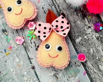 Handmade Hair clips, Felt padded Smiley pink Pear Hair Clip,or hair tie,hair bobble,brooch pin, Handmade felt Pear pigtails