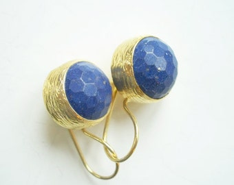 Gold Plate Lapis color Agate Silver earring