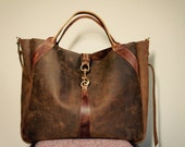 For Rawna//JOSEPHINE Shopper In Thick Oil Tanned Brown Leather with Antique Brown Horween Leather Accents